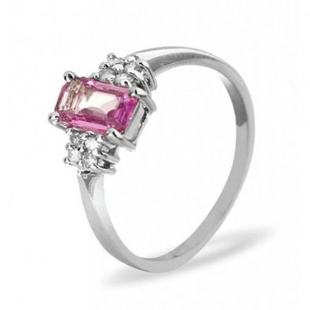 18K White Gold 0.06ct Diamond & 6mm x 4mm Pink Sapphire Ring, DCR15-PSW